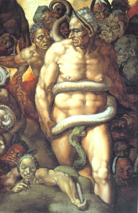 Biagio da Cesena depicted as Minos Source: Wikipedia Commons