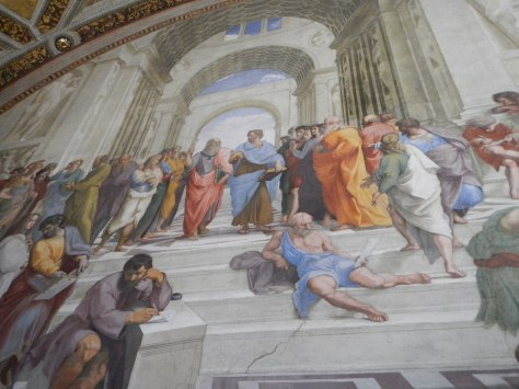 Raphael's School of Athens (Vatican Museum) with a parody of weeping Michelangelo leaning on the post to the left of the stairs.)