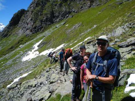 Our little group on the way to the second (Louvie) pass.