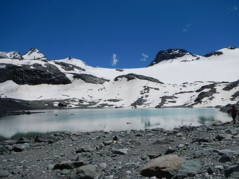 This little lake was in the Glacial Desert between the last two passes.  We had to climb through the snow.