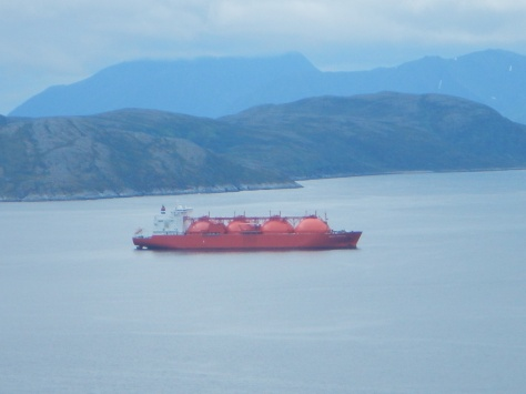 Freighter transporting natural gas out of Hammerfest