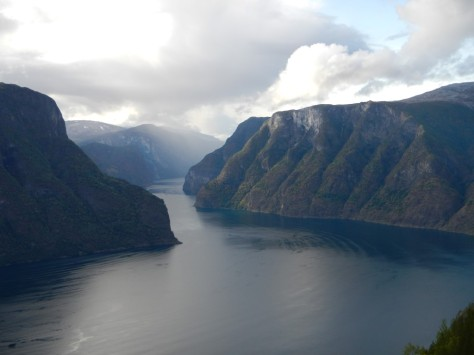 Aurlandsfjord taken from the viewpoint on the scenic road.