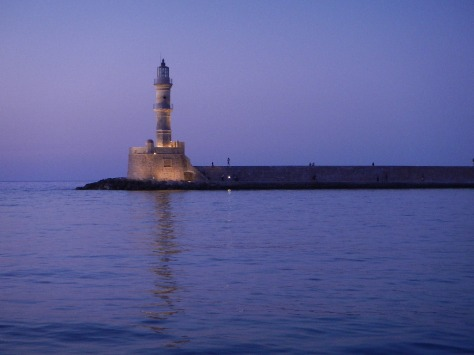 Venetian lighthouse in Chania Crete, Greece old town