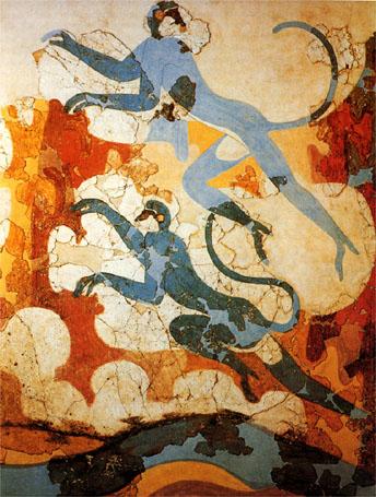 Blue monkeys (part of a large wall fresco)