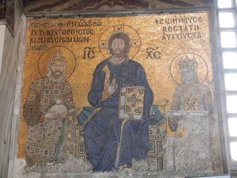 Eleventh Century mosaic of Christ with Emperor Constantine IX Monomachus and Empress Zoe in the Hagia Sophia upper gallery
